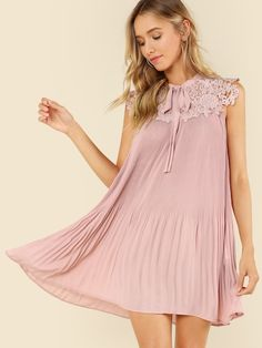 SheIn offers Guipure Lace Yoke Tied Neck Swing Dress & more to fit your fashionable needs. Dress P, Swing Dress, Lolita Fashion, Dresses Online, Luxury Fashion, Fashion Beauty, Tunic Tops, Gowns, Stylish