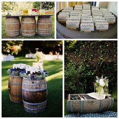 using barrels as decor for vineyard wedding