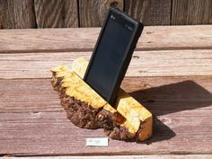 iPhone Smart Phone Dock Holder iPad iPod Station Night Stand Desk Office Business Card Holder Maple Burl Wood Gift Idea No.45 on Etsy, $30.00