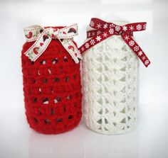Crochet Covered Glass Christmas Candle Jars  by MissBsEmporium