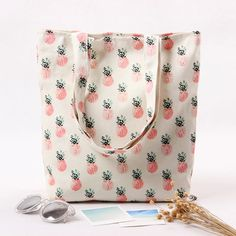 Cotton Canvas Eco Reusable Shopping Shoulder Bag Tote Pineapple L224 NEW