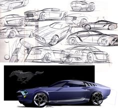 Ford Mustang concept sketches and digital illustration. Car Design Sketch, Car Sketch, Bike Sketch, Storyboard, Industrial Design Sketch, Futuristic Cars, Car Drawings, Transportation Design, Automotive Design