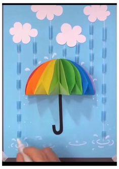 Rainy Day Crafts, Paper Crafts For Kids, Craft Activities For Kids, Christmas Crafts For Kids, Preschool Crafts, Fun Crafts, Paper Crafts Origami, Halloween Crafts For Kids, Rain Umbrella