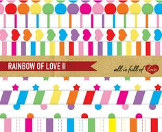 Digital Paper Pack Rainbow of Love II by AllFullOfLove on Etsy, $3.50