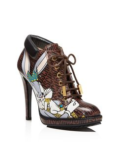 Moschino Looney Lace Up High Heel Booties