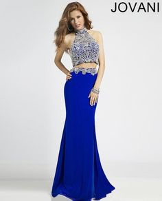 Gorgeous royal blue two piece prom dress by Jovani with beaded silver-blue halter top 2015