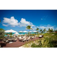 The Seaside Cafe at Ocean Club West sits on the Grace Bay Beach on Providenciales in Turks & Caicos.