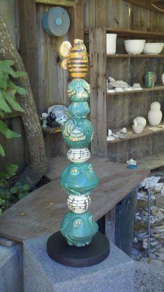 Garden Totem (frogs, butterflies, honey bees, musical notes) - Foxlo Pottery - Fox & Lois Garney - Cambria, California