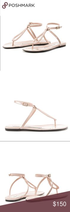 Furla soft pink patent t-strap sandal Gorgeous!! Patent t strap sandal that will go with every fun spring/summer outfit! Brand new come with all packaging as shown.  Selling because I don't think my feet look good in t-strap style. Wish they did because these are amazing shoes and so comfortable. Fit true to size. Furla Shoes Sandals