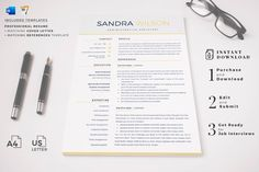 Professional Resume Template Bundle 3 in 1. Modern CV Design Pack, Yellow Resume Format for Word & Pages + Cover Letter - HIRED DESIGN STUDIO - Relay.shop Cover Letter Format, Cover Letter For Resume, Cover Letter Template, Letter Templates, Cover Letters, Creative Cv Template, Simple Resume Template, Elementary Teacher Resume, School Teacher