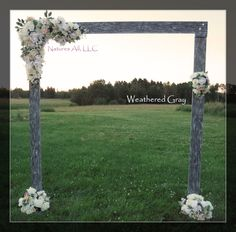 Rustic Wedding Arch With Large Platform Stands/For Indoor or Outdoor Weddings/Shipping Included/Weathered Gray