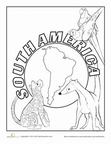 South America Coloring Page Worksheet