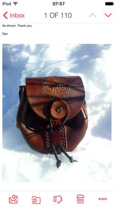 Thank you for viewing my add. This add is for MADE TO ORDER leather Windsor hip bag. You choose your color and symbol inches in… Belt Pouch, Hip Bag, Custom Bags, Leather Pouch, Leather Working, Saddle Bags, Celtic, Windsor, Renaissance