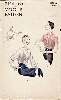 1950's Vogue Blouse Pattern  VOGUE 7104  by ShellMakeYouFlip, $25.00