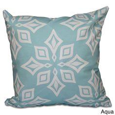E by Design Beach Star Geometric Print 18-inch Throw Pillow (Aqua), Blue (Polyester)