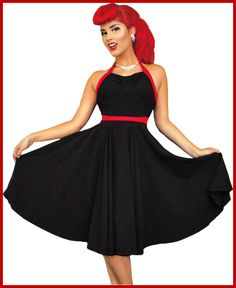 Steady Black & Red Melanie Dress At Rockers England