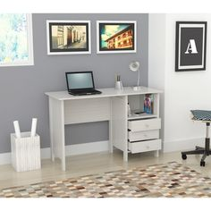 The sleek design of this modern desk is perfect for an office or bedroom. With three accessory drawers, this stylish laminate desk features an open shelf for convenient storage and can be used as a computer desk or a writing desk.