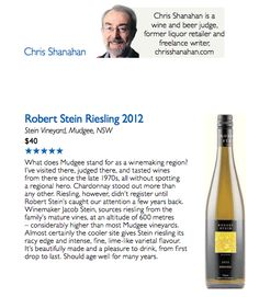 ROBERT STEIN RIESLING, Mudgee: Canberra Times, Chris Shanahan, Feb 2013.