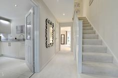 White/silver carpet White woodwork and walls Down lights – hallway Home Decor Bedroom, White Apartment Decor, White Walls, Carpet Design, Apartment Decor, White Carpet, Living Room Decor Apartment, White Wall Decor, Silver Carpet