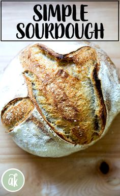 This is my favorite sourdough bread: I look forward to a slice of this, slicked with butter more than about anything in my day. It's high hydration, whole wheat(ish), and just so darn tasty. As far as sourdough recipes go, this is super simple. #sourdough #simple #bread #boule #wholewheat #naturally #leavened
