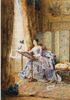 the feathered visitors, Maurice Leloir - French Illustrator ~ Artists and Art: Art Du Fil, Antique Pictures, Sewing Art, Hand Sewing, Classical Art, Figure Painting, Female Art, Textile Art, Landscape Paintings