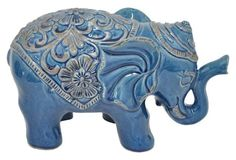 "13"" Ceramic Elephant Figurine, Blue"