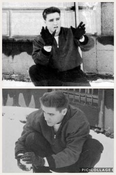Elvis who had come back home earlier from his military duties is pictured having his first snowball fight with some fans on German soil. These photos were taken in front of his accomodation Hotel Grunewald at Terrassenstraße 10 in Bad Nauheim, Germany on December 31, 1958.