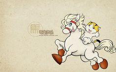 Kitten-Dream Cartoon Characters  - Horse - Chinese Zodiac Animal Sign Wallpaper 7