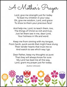 A Mother's Prayer (Free Printable)