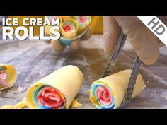 Ice Cream Rolls | with 3 Colours - Oddly Satisfying Video / Fried Ice Cream rolled by Ice Pan in UK - YouTube