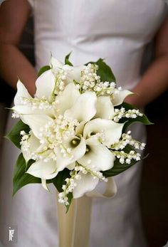 Gorgeous Bridal Bouquet Featuring: White Calla Lilies, White Lily Of The Valley + Greenery/Foliage Hand Tied With An Ivory Ribbon^^^^
