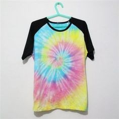 Mutilcolor Spiral Tie Dye Black Short Sleeve T Shirt