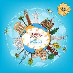 World travelling elements creative vector set 05