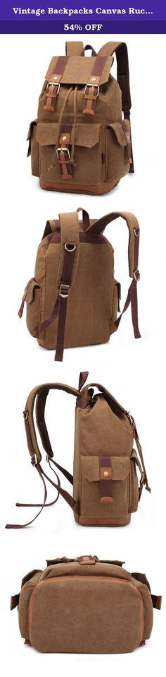 Vintage Backpacks Canvas Rucksack Large Capacity for Outdoor/hiking (Khaki). SUPON is the only legal owner and seller of the trademark BLUBOON(TM). Please confirm before purchase. We take full ownership and responsibility for the quality of our products. Feature: - Material: durable washed canvas - Size: 12.6*17.3*8.2 inches(L*H*W) - High volume with fashion style design, fit 15.6 inch laptop. - Sturdy tough straps, Stitching leather, The function the super, High quality rings…