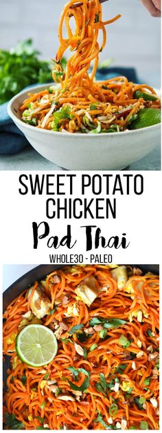 Paleo Sweet Potato Chicken Pad Thai By paleoslash.ml This Sweet Potato Chicken Pad Thai is an easy and paleo recipe that reminds you. Clean Eating For Beginners, Clean Eating Recipes For Dinner, Clean Eating Snacks, Healthy Eating, Eating Habits, Eat Clean Recipes, Quick Meals For Dinner, Clean Eating Pasta, Clean Dinners