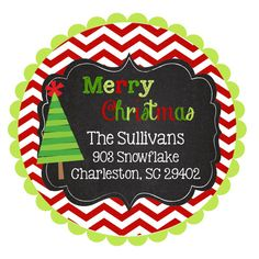 Round Christmas Stickers Labels by stickerchic on Etsy