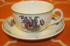 Villeroy Boch Alt Strassburg Flat Coffee Cups Saucers No 3 Green Trim Set of 3   | eBay
