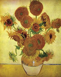 off Hand made oil painting reproduction of Vase With Fifteen Sunflowers, one of the most famous paintings by Vincent Van Gogh. In Vincent Van Gogh was waiting for the arrival of his friend Paul . Vincent Van Gogh, Art Van, Art History Lessons, Art Lessons, Flores Van Gogh, Vase With Fifteen Sunflowers, Van Gogh Still Life, Van Gogh Arte, Van Gogh Pinturas