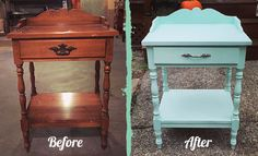 Curbside Rescue: From drab to fab Mint painted end table makeover.