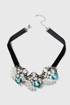 Encrusted Beaded Flower Collar Necklace
