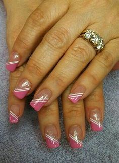 pink is it from aliciarock - Nail Art Gallery nailartgallery. from Nails Magazine www. French Nail Art, French Nail Designs, Colorful Nail Designs, French Tip Nails, Fingernail Designs, Toe Nail Designs, Acrylic Nail Designs, Nail Designs 2014, Pink Nail Art