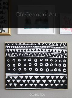 DIY Black and White Geometric Art - A simple art project with a beautiful DIY frame. www.persialou.com