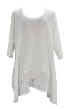 AKH Fashion Labina Sosan Lagenlook Stricktunika Long Pullover in weiß One Size Mode bei www.modeolymp.lafeo.de