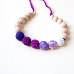 30% SALE with the coupon code AUGUST-Nursing Necklace/Teething Necklace-Purple Lavender Mauve White on Etsy, $21.00