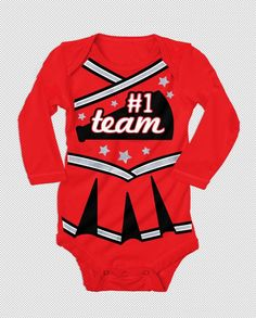 Cheerleader #1 Team Costume Outfit Infant One Piece Bodysuit Long Sleeve T-Shirt #MadEngine #GraphicTee