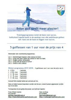 Golflessen bij Golfclub Capelle. Deze winter 5 lessen voor de prijs van 4! Golfers, Winter, Winter Time, Winter Fashion
