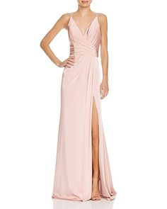 Faviana Couture Faille Satin Draped Gown   Bloomingdale's