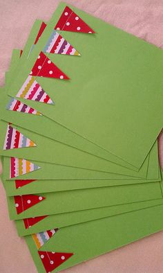 pennant note cards...i love that you have to sew paper on paper with this project!!!