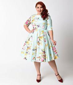 Plus Size Retro Dresses Plus Size Swing Dress Mint Green Floral #womensfashionretrodresses