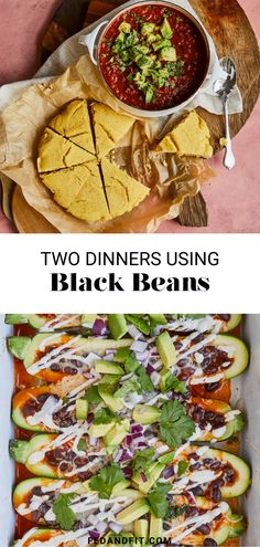 Today, I'm showing you the easiest, most efficient way to make two really comforting vegetarian dinners using black beans. Meal 1 is an enchilada-stuffed zucchini boat dinner and Meal 2 is a hearty, cozy vegetarian chili with a side of vegan cornbread.